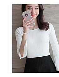 Feminino Curto Pulôver,Casual Sensual Sólido Decote Redondo Manga Longa 100% algodão Primavera Outono Fina Com Stretch