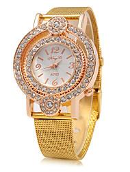 Mulheres Relógio de Moda Chinês Quartzo Mostrador Grande Metal Banda Brilhante Luxuoso Dourada