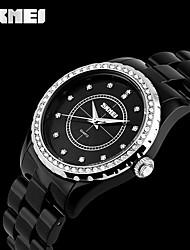 Women's Men's SKMEI Popular Brand Watches Casual  Artificial Ceramics Pink White Case Bracelet Gift Clock Quartz Watch
