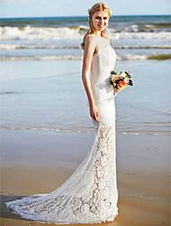 LAN TING BRIDE Trumpet / Mermaid Wedding Dress - Elegant & Luxurious See-Through Sweep / Brush Train Jewel Lace Satin with Lace