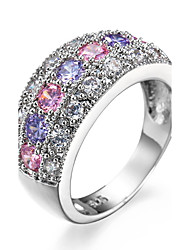 Ring Women's Luxury Silver Elegant Multicolor Zircon Ring Daily Party  Movie Business Gift Jewelry