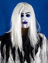 Horrible Toothy White Long Hair Ghost Face Latex Soft Mask Halloween Party Prop Costume Mus