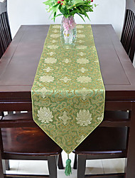 Classical Chinese Rich Flowers Cotton And Linen Table Flag 33*150cm