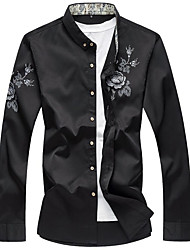 Men's Casual/Daily Chinoiserie Spring Fall Shirt,Floral Shirt Collar Long Sleeve Rayon Medium