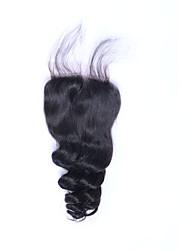 Мода хорошая обратная связь 8а натуральный черный рыхлый бразильский бразильский виргинские человеческие волосы закрытий бесплатно /