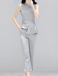 Women's Casual Simple Summer Blazer Pant Suits,Solid Round Neck Sleeveless Inelastic