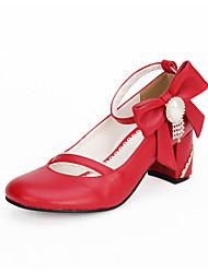 Scarpe Dolce Lolita Classica e Tradizionale Lolita Da principessa Fatto a Mano Quadrato Fiocco Lolita 6.5 CM Rosso PerSimilpelle/Costumi