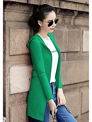 Women's Going out Casual/Daily Simple Spring/Fall Coat,Solid Shirt Collar Long Sleeve Regular Cotton