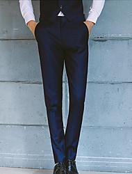 Homme simple Taille Normale Micro-élastique Costume / Tailleur Pantalon,Mince Couleur Pleine