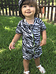 Baby' Fashion And Comfortable Lovely Short Sleeve Lovely Zebra Conjoined Crawling Clothes