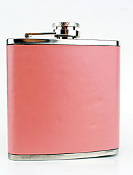 Stainless Steel 6-oz Pink   Blue  Leather  Flask  Hip Flask