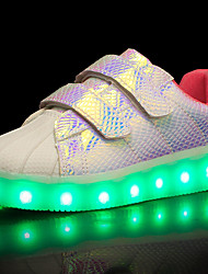 Girls' Sneakers Comfort Light Up Shoes Spring Summer Fall Winter Tulle Leatherette PU Walking Shoes Casual Outdoor Magic Tape LED Low Heel