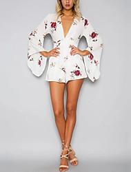 Для женщин Простой Секси Уличный стиль Пляж Для клуба Праздник Комбинезоны,С высокой талией Широкие Мода Цветочный принт Лето