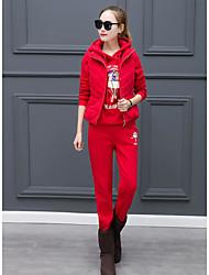 Sweat à capuche Pantalon Costumes Femme,Mot / Phrase Décontracté / Quotidien simple Automne Hiver Manches longues Micro-élastique