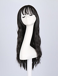 Hot Selling Black Color Long Natural Wave Women Wigs Heat Resisting Cospaly Syntheitc Wigs
