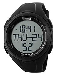SKMEI Муж. Спортивные часы электронные часы Цифровой Защита от влаги Крупный циферблат Педометр Хронометр PU Группа Черный Зеленый