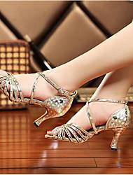 Damen Tanz-Turnschuh PU Sandalen Sneakers Innen Blockabsatz Gold Silber Rot 5 - 6,8 cm