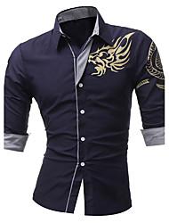 Для мужчин На каждый день Офис Весна Осень Рубашка Рубашечный воротник,Шинуазери (китайский стиль) Геометрический принт Длинный рукав,