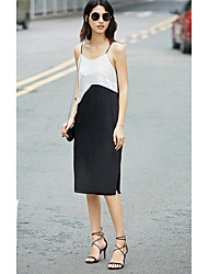 AMII Women's Casual/Daily Loose Dress,Color Block Strap Knee-length Sleeveless Polyester Vicose 90%Wool10%Silk Summer High Rise Inelastic Thin