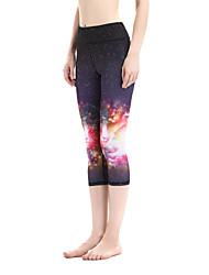 Pantalones de yoga Cortados 3/4 Medias/Corsario Secado rápido Cintura Media Alta elasticidad Ropa deportiva MujerYoga Pilates Ejercicio y