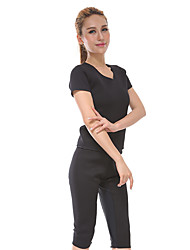 Women's Tracksuit Short Sleeves Fitness, Running & Yoga Quik Dry Clothing Suits for Running/Jogging Exercise & Fitness Slim Black