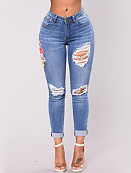Women's High Waist strenchy Skinny Jeans Pants,Street chic Skinny Cut Out Embroidered Embroidery