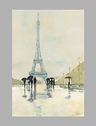 IARTS® Hand Painted Modern Abstract Wonder under The Eiffel Tower in a Raining Day Oil Painting On Canvas with Stretched Frame Wall Art For Home Decor