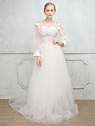 Ball Gown Wedding Dress - Classic & Timeless See-Through Beautiful Back Court Train Jewel Tulle with Beading Embroidery Lace