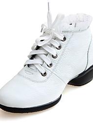 Women's Modern Real Leather Cowhide Heels Practice Black White