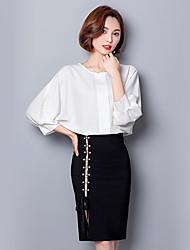 Damen Solide Röcke Sonstiges Normal Shirt Rock Anzüge,Rundhalsausschnitt Frühling Sommer Herbst Unelastisch