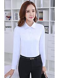 Women's Formal Modern/Comtemporary Spring Shirt Skirt Suits,Solid Shirt Collar Long Sleeve Micro-elastic