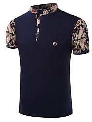 Для мужчин На выход На каждый день Все сезоны Лето Рубашка Воротник-стойка,Богемный Уличный стиль Активный другое С короткими рукавами,
