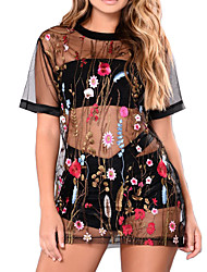 Women's Beach Holiday Going out Sexy Vintage Shift DressFloral Embroidery See-through Blouse Mesh Round Neck Mini Short Sleeve Tulle Netting