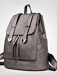 Women Backpack PU All Seasons Casual Formal Outdoor Office & Career Traveling Bucket Zipper Light golden Purple Red Black Blue