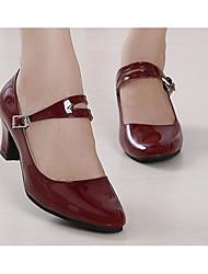 Women's Modern Patent Leather PU Heel Practice Black Dark Red Red