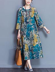 Ample Robe Femme Décontracté / Quotidien simple Chinoiserie,Imprimé Col Arrondi Midi Manches Longues Coton Lin Printemps Automne Taille