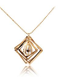 Women's Pendant Necklaces Rhinestone Geometric Metallic Unique Design Pendant Tag Geometric Tassels Fashion Personalized Hypoallergenic