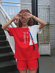 Mujer Chic de Calle Casual Verano T-Shirt Pantalón Trajes,Escote Redondo Bloques Sin Mangas Inelástica