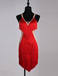 Dovremo abiti da ballo latino cristallo organza spandex delle donne sleeveless