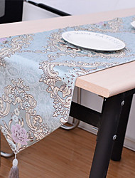 European Blue Coffee Color Fashion Jacquard Cotton And Linen Table Flag 32*210cm