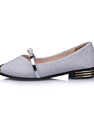 Women's Loafers & Slip-Ons Light Soles Spring Summer Nubuck leather Walking Shoes Casual Dress Imitation Pearl Metallic Toe Low Heel Gold