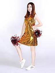 Costumes de Pom-Pom Girl Robes Femme Spectacle Tricot 1 Pièce Sans manche Taille haute Robes