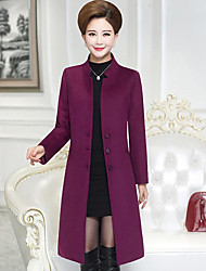 Women's Party Daily Casual Fall Winter Coat,Solid Stand Long Sleeve Long Polyester
