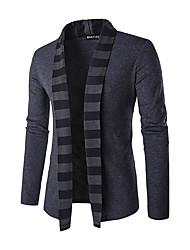 Standard Cardigan Da uomo-Casual A strisce Colletto Manica lunga Poliestere Inverno Medio spessore Media elasticità