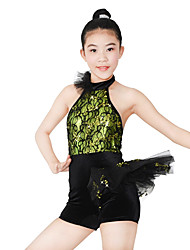 MiDee Dresses Performance Spandex / Paillettes / Lace / Ruffles / Sequins 2 Pieces Ballet Sleeveless NaturalDress / Hair