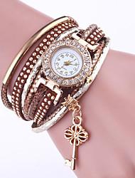 Mulheres Bracele Relógio Chinês Quartzo PU Banda Elegantes Preta Branco Azul Vermelho Verde Cáqui