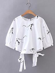 Damen Druck Einfach Alltag Normal T-shirt,Rundhalsausschnitt 3/4 Ärmel Polyester