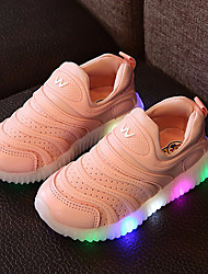 Girls' Sneakers Light Up Shoes Spring Summer Fall Leather Tulle Walking Shoes Casual Outdoor LED Low Heel White Yellow Blushing Pink