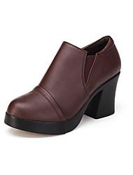 Feminino Saltos Sapatos formais Couro Primavera Outono Sapatos formais Salto Grosso Preto Marron 12 cm ou mais