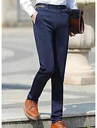 Homme simple Taille médiale Micro-élastique Costume / Tailleur Pantalon,Large Couleur Pleine